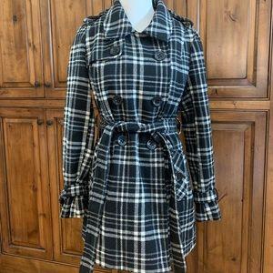 Black & White Plaid Dress Coat - Pea Coat L